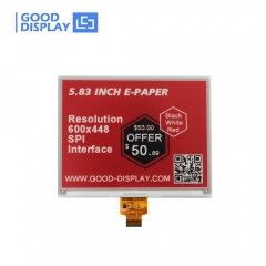 5.83 inch color red e-paper display Tri-color e-ink screen module buy GDEW0583Z21